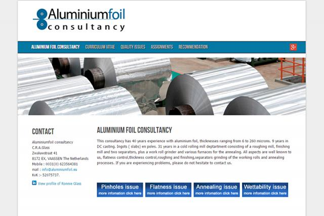 Aluminiumfoil consultancy Netherlands website created by Novussite