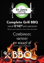 Flyer BBQ buffet voor Sir James catering